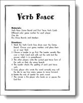 Verb Race Game Freebie; great resource for other items