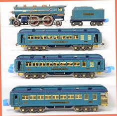 Lionel prewar standard gauge 396E Blue Comet passenger set including 390E steam loco, 390T tender with 420, 421 and 422 passenger cars. The loco needs one handrail stanchion replaced and two reattached, slight bent handrail on one side. Loco and tender are C6. Cars are quite nice C7+. The 396E set box is missing three flaps, good label, worn. The interior boxes are all pretty nice but missing some inner flaps and the 420 box is missing tape on side and one end flap.