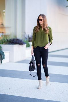 Day to Night Fall Outfit. Black distressed skinnies with olive top outfit. Faux Suede Jacket
