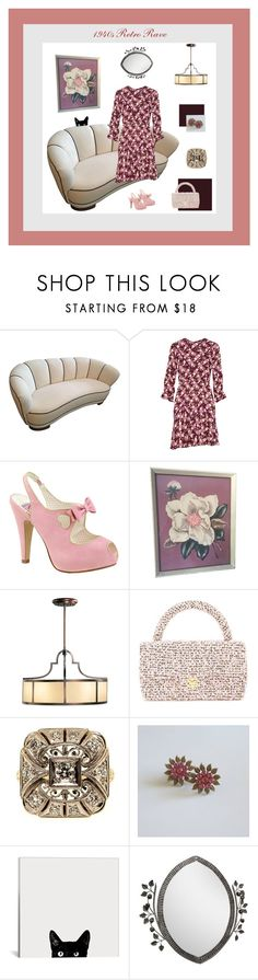 """""""1940s Retro Rave"""" by anna-ragland on Polyvore featuring Anna Sui, Pinup Couture, Fine Art Lamps, Chanel and vintage"""