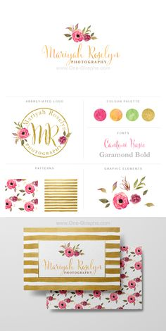 Logo for sale!  http://one-giraphe.com/prev.php?c=169  #logo #flowers #watercolor #gold #stripes #businesscard #photography