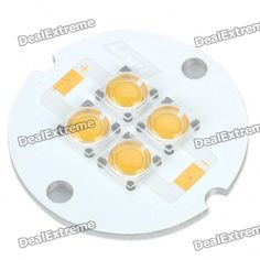 Material: aluminum alloy board - High power warm white light 4-LED emitter - Voltage: 6~8V - Power: 4 x 1W - Current: 700mA - Luminous flux: 200~250LM - Color temperature: 3000~3500K http://j.mp/VIKcDi