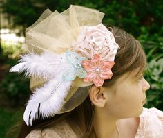 At Second Street: Vintage inspired Tea Party.   These are fascinator hats.  So cute!