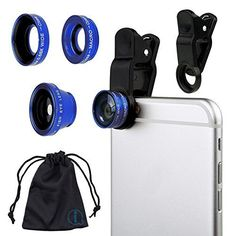 Blue Clip On 180 Degrees Portable 3 in 1 Camera Lens Kit  FishEye  Wide Angle  Macro for LG C900 Optimus 7Q >>> Click image for more details.