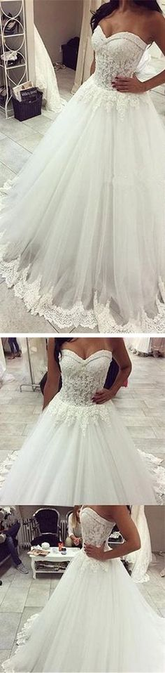 Long A-line Sweetheart Lace Top Tulle Bridal Gown, Wedding Party Dress – SposaDesses