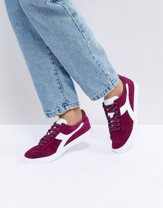 DIADORA B.ORIGINAL SNEAKERS IN BURGUNDY - RED. #diadora #shoes #