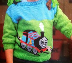 """diy_crafts-thomas the tank engine knitting pattern childs jumper inch chest intarsia sweater """"Retail pattern: thomas the tank engine knitti Baby Boy Knitting Patterns, Knitting For Kids, Double Knitting, Crochet For Kids, Knit Patterns, Crochet Baby, Knitting Yarn, Baby Cardigan, Baby Jumper"""