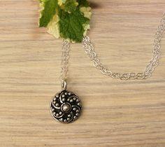 Silver Bali Pendant Necklace Solid 925 Sterling by BonArtsStudio