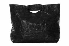Day Shopper in black floral embossed leather  made in the beautiful United States  www.shopjenniferhaley.com