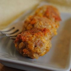 Sausage Balls - Allrecipes.com. Make ahead and freeze uncooked. Bake 20-25 mins. Use sprayed rack in cookie sheet for sausage grease.