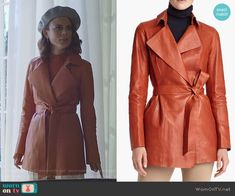 Cristal Flores wears a Theory top with this Lafayette 148 leather trench on Dynasty 1x04