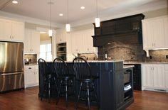 black mantle with dark backsplash Fitzgerald Construction - traditional - kitchen - atlanta - Fitzgerald Construction