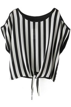#ROMWE | Self-tied Black Striped Blouse, The Latest Street Fashion