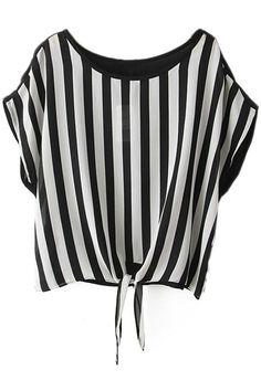 #ROMWE | Self-tied Black Striped Blouse, The Latest Street Fashion