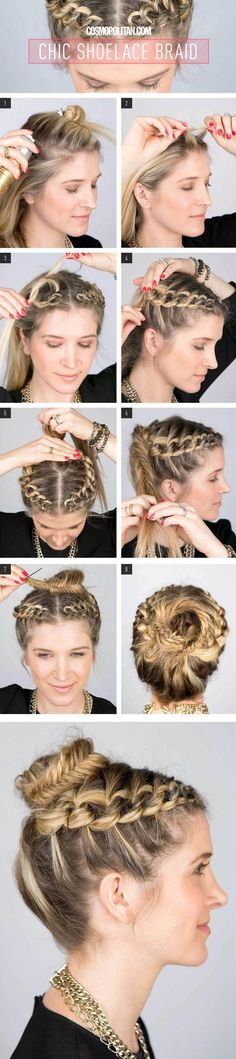 How-To: Chic Shoelace Braid How To Create A Shoelace Braid Updo. maybe just do it on one side and not part in the middle?How To Create A Shoelace Braid Updo. maybe just do it on one side and not part in the middle? Braided Crown Hairstyles, Pretty Hairstyles, Girl Hairstyles, Wedding Hairstyles, Braided Updo, Fishtail Bun, Beautiful Haircuts, Hairdos, Hairstyles Haircuts