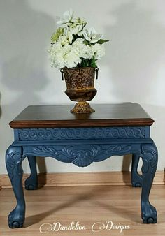 Refinished by Dandelion Designs in Rustoleum Chalked paint in Deep Navy