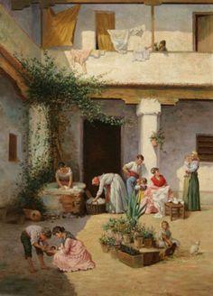 Isidoro Marín Garés – La hora de la colada – óleo sobre lienzo – 70 x 50 cm