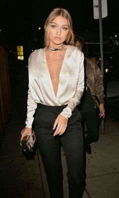 Gigi Hadid, silk top, deep v, sophisticated, edgy