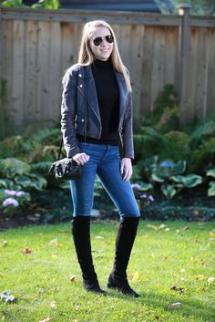 Plaid & Pearls: Suede Fall Jacket and Knee High Boots