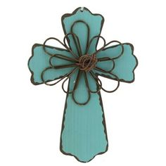 "6"" Blue Wood Cross Plaque with Brown Wire Accent ~ Hobby Lobby #726869"
