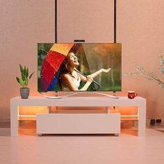 Jaxpety High Gloss White TV Stand