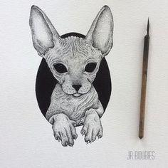 Tattoo cat pontilhismo Ideas for 2019 Kunst Tattoos, Neue Tattoos, Body Art Tattoos, Sphinx Tattoo, Desenho Tattoo, Cat Drawing, Baby Cats, Tattoo Sketches, Animal Drawings