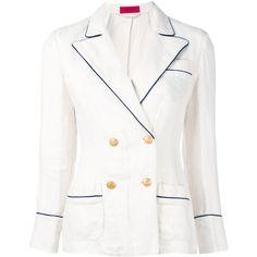 The Gigi Soledad Blazer ($517) ❤ liked on Polyvore featuring outerwear, jackets, blazers, blazer jacket, white jacket, white blazer jacket, linen jacket and white blazer