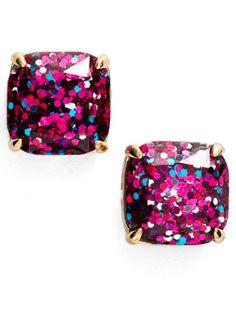 pretty pink glitter studs