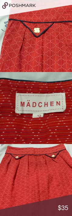 Madchen 'Diamond Flame' pencil skirt Ultra flattering, high waisted cotton skirt. Beautiful texture, stunning color, with vintage style buttons on faux front pockets and side zip. So wish it was my size! Anthropologie Skirts Pencil