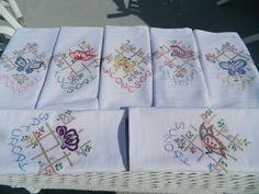 7 Day's of The Week Hand Embroidered Floursack Dish Towels Butterfly | eBay