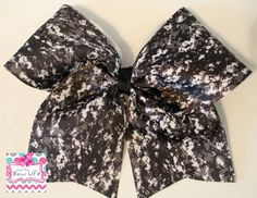 Black, Grey and White Digital Camo Softball Cheer Bow by LivinTheBowLife on Etsy