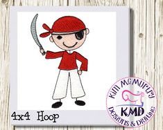 Excited to share this item from my #etsy shop: Embroidery Stick Boy Pirate: Size 4x4, Instant Download, KMDemb Machine Embroidery Design