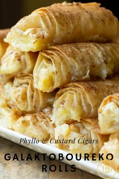The perfect dessert. Buttery Phyllo filled with sweet custard then drizzled with honey syrup. easy 3 ingredients easy for a crowd easy healthy easy party easy quick easy simple Greek Sweets, Greek Desserts, Köstliche Desserts, Custard Desserts, Greek Food Recipes, Dinner Party Desserts, Health Desserts, Phyllo Dough Recipes, Pastry Recipes