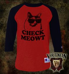 Check Meowt Raglan Jersey 3/4 Sleeve Adult Shirt by VoltNein