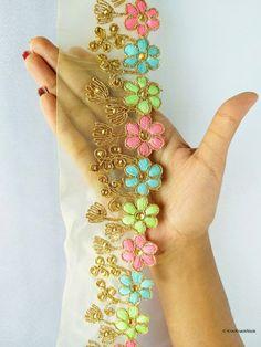 Floral Embroidered lace Indian Paisley Gota Trim Net Fabric Sari Border,Dupatta Lace,Ribbon Craft,6 cm W Mustard Green  Lilac Cream Pink