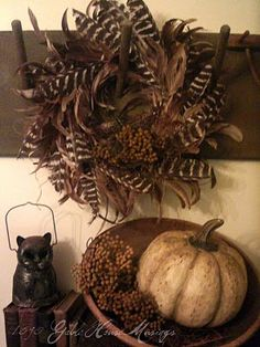 Feather wreath -made by TheKeepersHouse-Etsy Fall option for front gallery wall across from the built-in bench Turkey Feathers, Pheasant Feathers, Peacock Feathers, First Day Of Autumn, Feather Wreath, Primitive Fall, Primitive Christmas, Autumn Decorating, Fall Harvest