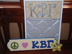 KAPPA BETA GAMMA. Fabric covered corkboard, Peace, Love, Kappa Beta Gamma sign and star peg