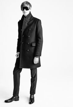MEN'S AW15 LOOK 5   Black double faced long military coat fully lined with leather buttons. Black denim western jacket. Charcoal classic cashmere turtleneck. Black mohair twill mélange tailored frogmouth pocket 18cm tailored sport pants. Black mask sunglasses with green lens. Black kidskin lancster boot.