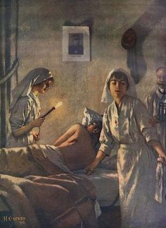 Nurses Treating a Wounded Soldier : Painting from 1915 by Henri Gervex (Get Him Back Guys) World War One, First World, Ww1 Art, Nurse Art, Nostalgic Images, Vintage Nurse, Old Master, Red Cross, Celestial