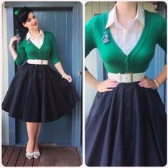 Retro Fashion Get your swing on with a circle skirt! - Pinup fashion is one of those styles that will never get old. Pin Up Vintage, Vintage Mode, Look Vintage, Mode Rockabilly, Rockabilly Fashion, 1950s Fashion, Vintage Fashion, Vintage Outfits, Vintage Dresses