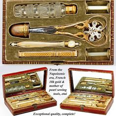 Antique Napoleon Era French 18k Gold Sewing Set, Etui, Tools - Embroidery set with marks for 1798-1809 photo credit: Antiques Uncommon Treasure