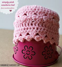 Crochet Baby Hats simply pink newborn hat free cp - Free Crochet Pattern: Simply Pink Newborn Hat When I received my package of lovely yarn from Red Heart, I received two balls of Anne Geddes Baby yarn. This yarn is perfect for baby projects; Crochet Baby Hats Free Pattern, Baby Hat Patterns, Baby Girl Crochet, Newborn Crochet, Crochet Baby Booties, Crochet For Kids, Free Crochet, Crochet Patterns, Crochet Hats