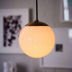"Globe Pendant, 8"", Milk Glass At West Elm - Pendant Lights - Chandeliers - Light Fixtures"