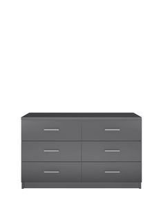 Prague Gloss 3 + 3 Chest of Drawers in Black, Grey or White Bedroom furniture with a reflective side, this chest of drawers is a new addition to our Prague gloss range – a best-selling collection in a smooth and light-luring finish.It comes in black or white options, and the shiny gloss finish to the drawer fronts captures the image of your bedroom and splashes it back out in its own contemporary colour.The drawers are fitted with easy-glide metal runners, which ensure they slide…