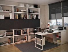 Elegant Study Table For Modern Teen Bedroom Interior Design Ideas : Nice White Wooden Study Table Desig With White Bookcase Integrated Black Drawer Including Gray Rug On Wooden Laminate Flooring As Well Gray Shades Window Contemporary Office Desk, Modern Home Office Desk, Home Desk, Sofa Bed For Small Spaces, Furniture For Small Spaces, Wooden Study Table, Bookshelf Design, Bookshelves, Bookcase