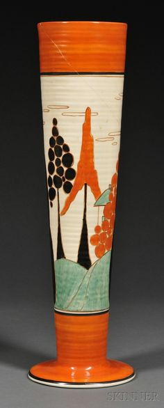 Large Clarice Cliff Bizarre Ware Trees & House (Alpine) Pattern Vase /