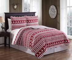 3 Piece Deer Red/White Quilt Set