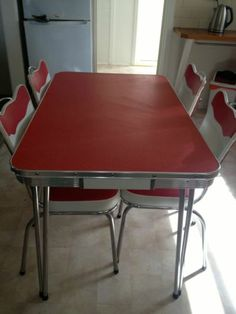Retro Laminex Table Chairs RED Dining SET Vintage In Ferntree Gully VIC