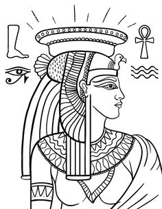 Printable Cleopatra coloring page. Free PDF download at http://coloringcafe.com/coloring-pages/cleopatra/