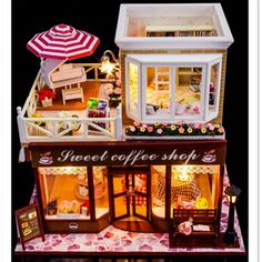 53.67$  Buy here  - Sweet Coffee Shop DIY Wooden Miniatura Doll House with Furniture,New Arrival Creative Handmade Big Doll House Assembling Toys